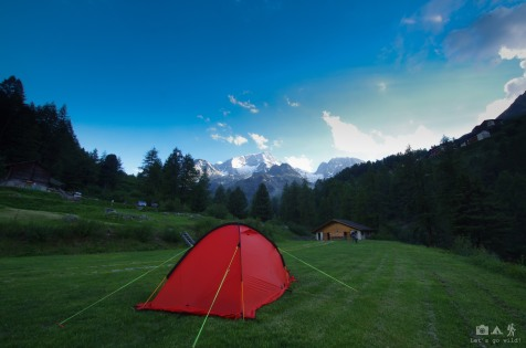 Arolla camping with straight views to the glacier