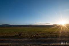 Enjoying sunset (still quite a few km to go...)