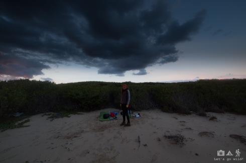 Campsite in the beach